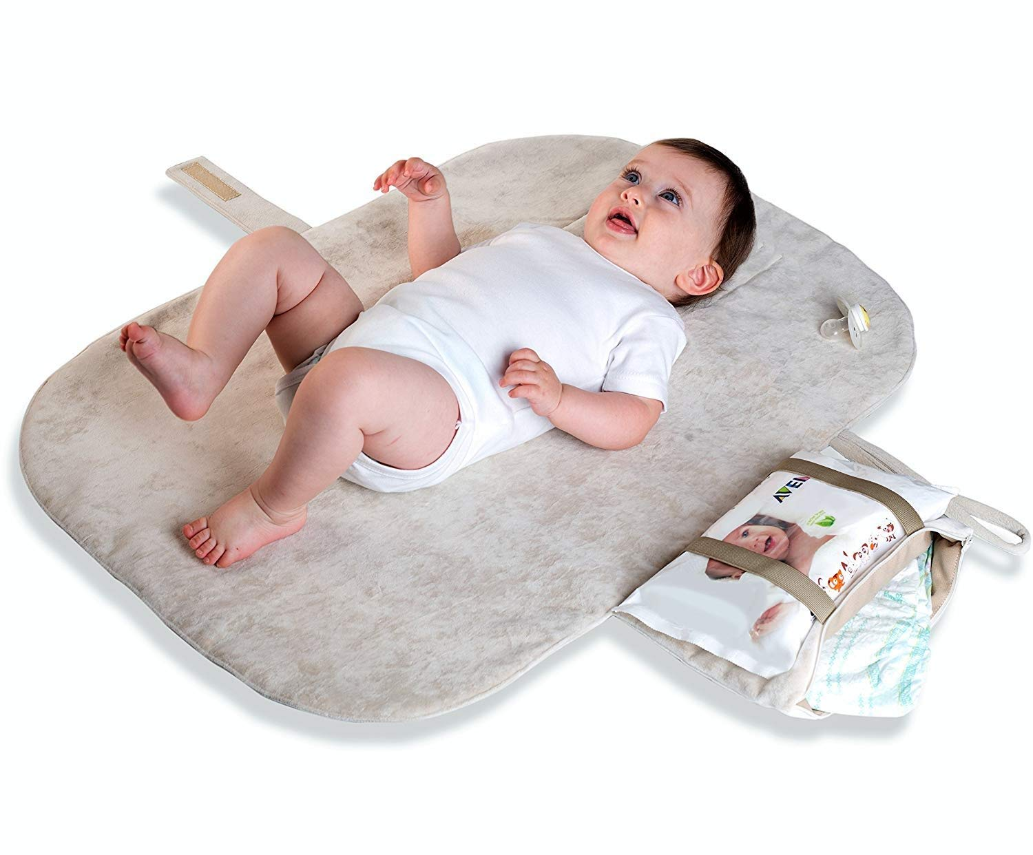 MoBaby Portable Changing Pad, Luxurious Soft-as-Suede Change Clutch, Oeko-TEX Certified, Machine Washable, Chic & Cushioned for Baby, Infant, & Newborn, Light Gray color