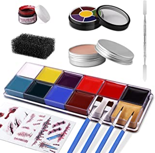 Winthai 30 pcs Halloween special effect makeup kit kids adults, professional sfx makeup kits, with 18 colors of body face ...