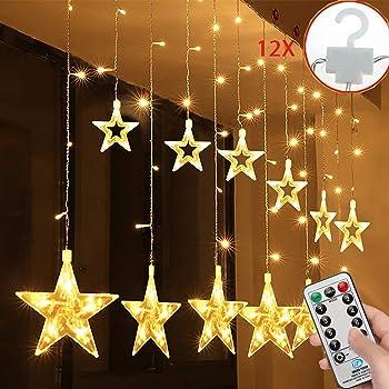 138 LED Lichterkette Schneeflocke 2.5m Lichtvorhang Fenster Baum Weihnachtsdeko