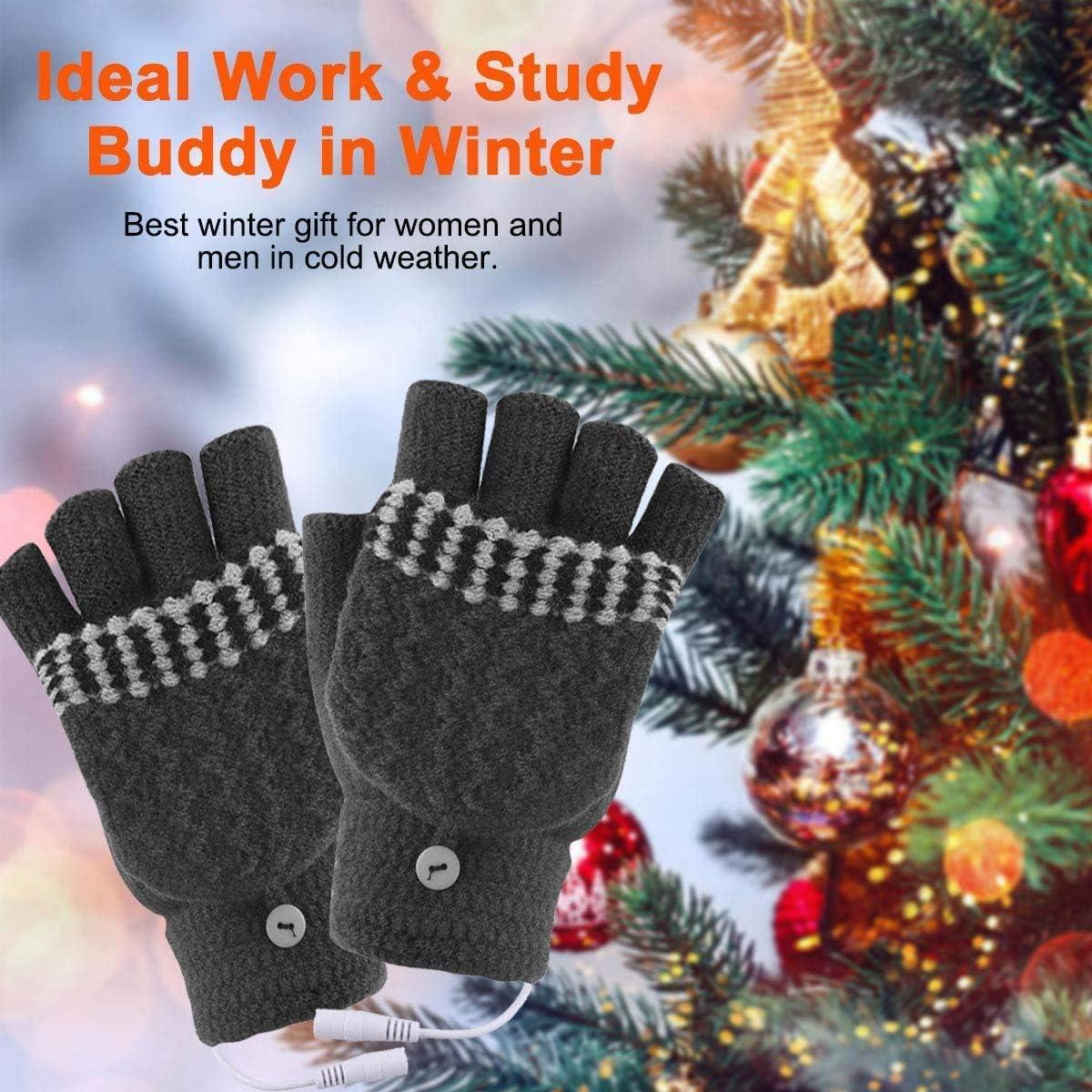 USB Heated Gloves for Women & Men, Hand Warmer Gloves for Typing Winter Warm Laptop Gloves, Full & Half Hands Heated Fingerless Gloves Mitten Washable Design