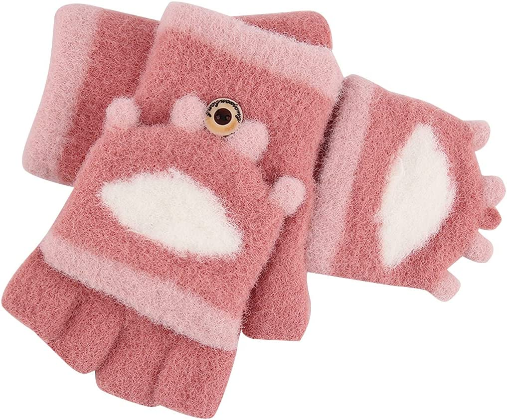 Licogel Kids Fingerless Gloves Fashion Thick Knitted Half Finger Mittens Flip Top Gloves Convertible Cover Indoor