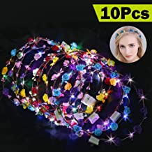 Parsion Led Blumenkranz, 10pcs Garland Stirnband Dekorative Leucht 10 LEDs Böhmen Blume Stirnband Kopfbedeckung Floral Crown Tiara Haarschmuck Valentinstag Stirnband Party Hochzeit Decor