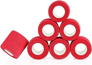 YuMai Adhesivo Vendaje Elástico, 5cm x 6 Rollos, Vendas de Protección, Vendaje Médica - Rojo