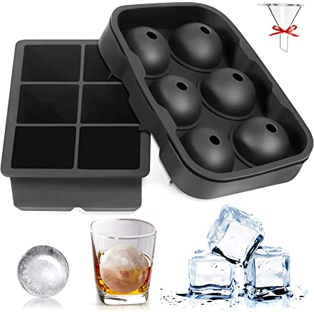 8 Block Ice Cube Maker Tray Big Silicone Mold Sphere Whiskey Frozen Tray