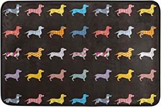 JSTEL Nonslip Door Mat Home Decor, Hipster Colorful Dogs Dachshund Durable Indoor Outdoor Entrance Doormat 23.6 X 15.7 Inches