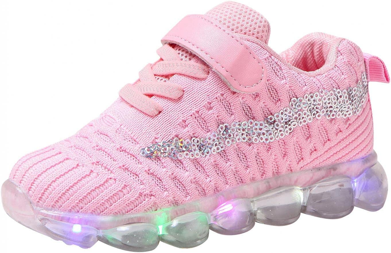 Baby Gilrs Boys Striped Shoes LED Light Up Luminous Sneakers Trainers Toddler Kids Flashing Socks Shoes Sports Running Shoes Mesh Sneakers Children Baby Outdoor Slip On Casual Shoes 1-6Year