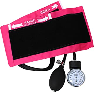 تنظیم فشار خون دیجیتال اگزوئید لوکس فشار خون و فشار خون با دکمه بزرگسالان ، کیف حمل نایلون صورتی و کلید کالیبراسیون