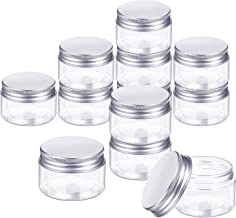 Cxjff Empty 12 Pack Clear Plastic Slime Storage Favor Jars Wide-mouth Plastic Containers with Lids for Beauty Products, DI...