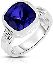 Unique Royal Jewelry Sterling Silver Lab Created Sapphire Tree Bark Finish Heavy Casting Ring
