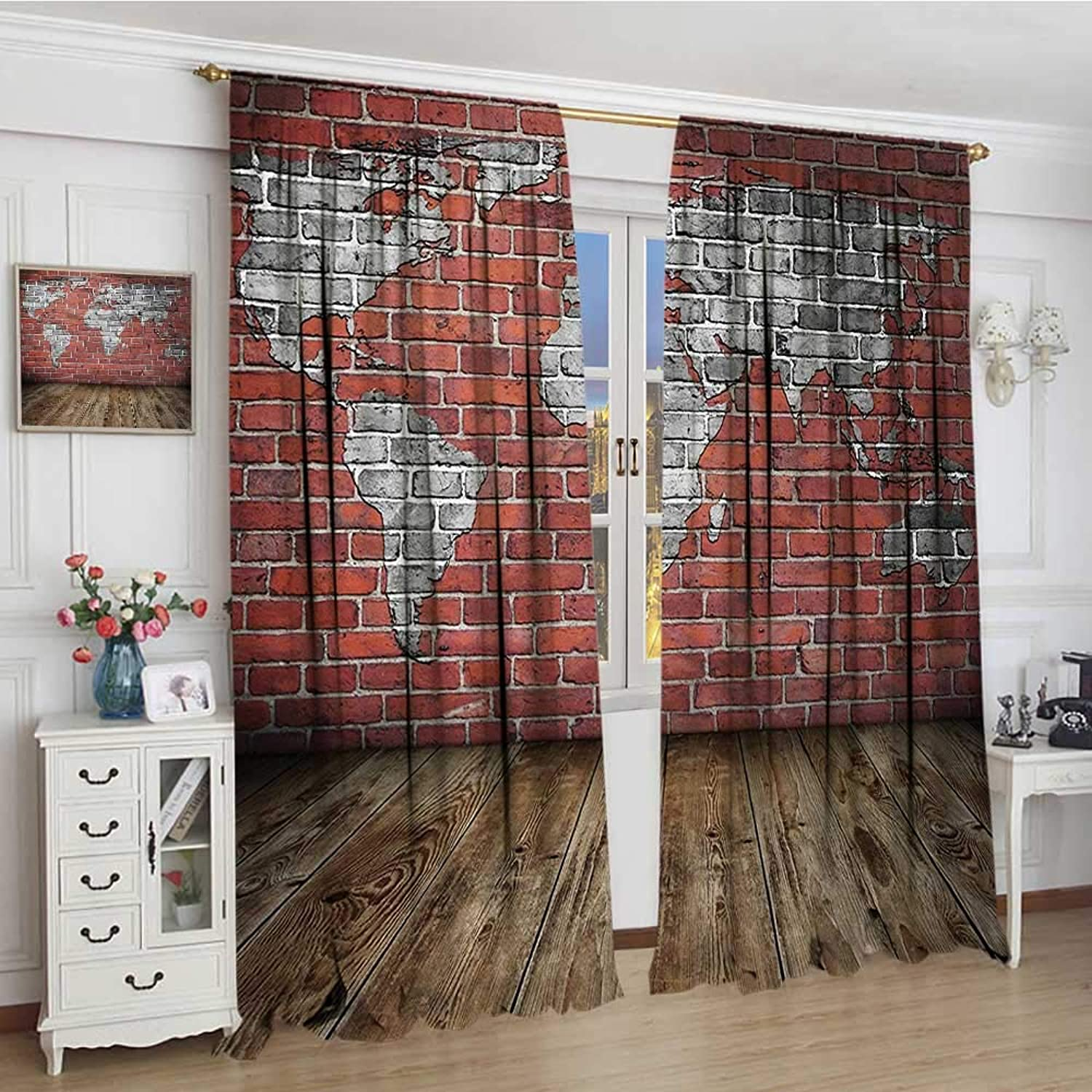 Smallbeefly Wanderlust Room Darkening Wide Curtains Vintage Grunge Map Room Style Brick Rustic Geographic Interior Travel Drapes for Living Room 108 x84  Cinnamon Pale Grey