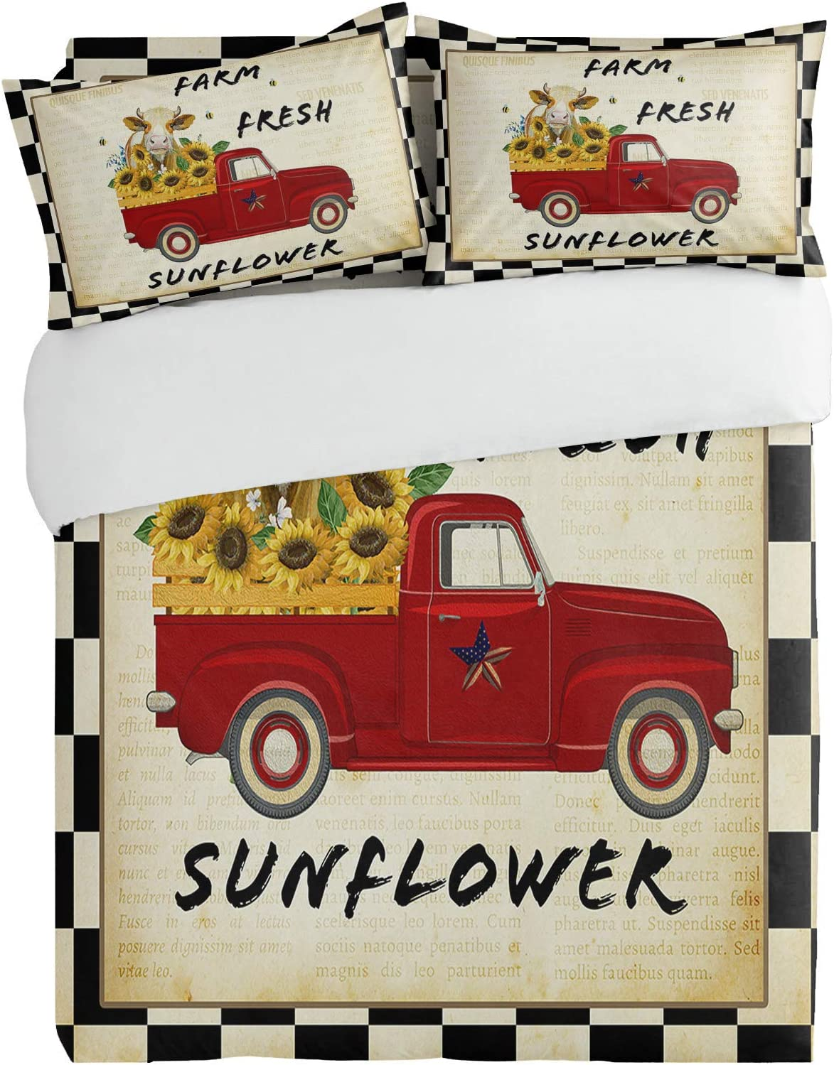3PiecesBeddingDuvetCoverSetSunflower Cow Country Truck Sup Max Max 47% OFF 76% OFF