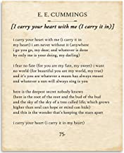 E E Cummings - I Carry Your Heart - 11x14 Unframed Typography Book Page Print - Great Gift for Book Lovers, Also Makes a Great Gift Under $15