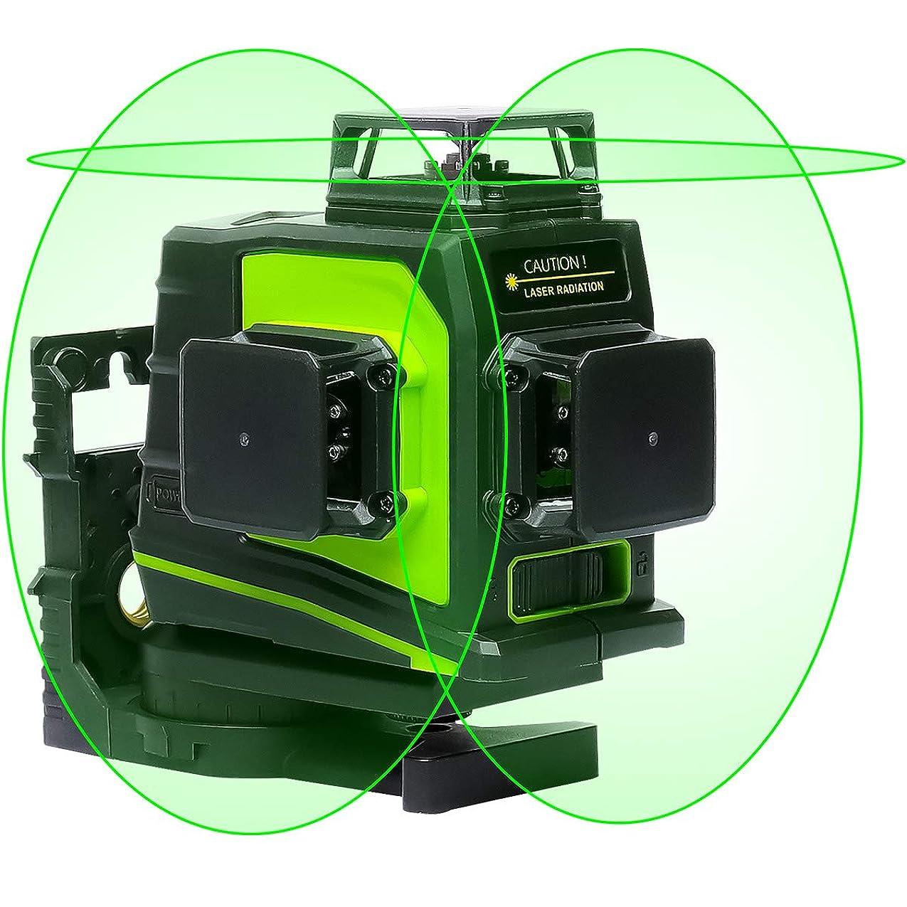 Huepar 3x360° レーザー墨出し器 グリーン 緑色 レーザー クロスライン 大矩 フルライン照射モデル 自動補正 2電源方式 USB充電可能 GF360G【受光器対応しないタイプ】
