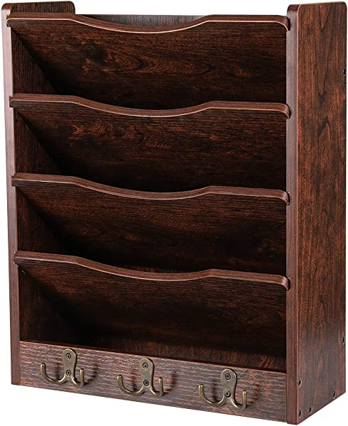 PAG 5 Tier Wood Hanging Wall File Holder Organizer Magazine Literature Rack With 6 Hooks Retro Brown