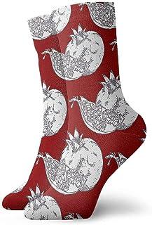 tyui7, Calcetines de compresión antideslizantes de patrón de granada roja Calcetines deportivos de 30 cm acogedores para hombres, mujeres, niños