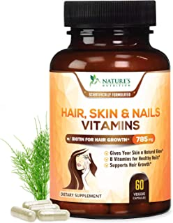 Hair Skin & Nails High Potency Biotin Vitamin Complex - Best Hair Vitamins - Made in USA - Vitamin C & E for Faster Hair Growth, Glowing Skin & Healthier Stronger Nails for Women - 60 Capsules