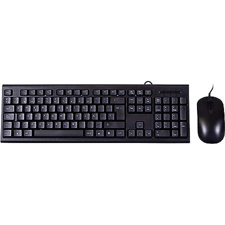 PC Case PCC-KTR-001 - Kit de Teclado y ratón pc (Membrana, USB, cableado, diseño Fibra de Carbono) QWERTY Español, Color Negro