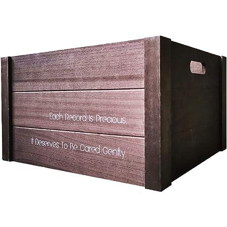 """Caja de almacenamiento de discos de vinilo, soporte de exhibición de CD de madera Estuche portátil para revistas de escritorio sobre encimera - para grabadores de 12 """"y 7"""" ( Color : Dark coffee )"""