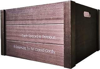 Caja de almacenamiento de discos de vinilo, soporte de exhibición de CD de madera Estuche portátil para revistas de escrit...