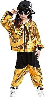 LOLANTA Costume da Ballo Hip-Hop per Bambini Set di Abiti da Ballo di Strada Jazz Metallizzato Lucido Giacca con Cappuccio...