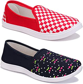 WORLD WEAR FOOTWEAR Women Multicolour Latest Collection Sneakers Shoes- Pack of 2 (Combo-(2)-1451-11016)