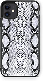 XUNQIAN iPhone 11 Pro Max Case, Vintage Snake Skin Pattern Artistic Thin Soft Black TPU +Tempered Mirror Material Protecti...