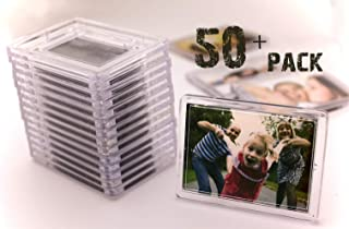 NSD5 Acrylic Magnets With Stand Blank Clear Fridge Photo Insert – Sturdy Transparent Plastic DIY Refrigerator Magnet Set 50pcs, 3.2x2.3 Size, Ideal For Souvenirs, Wedding Gifts & Keepsakes (50+2 FREE)