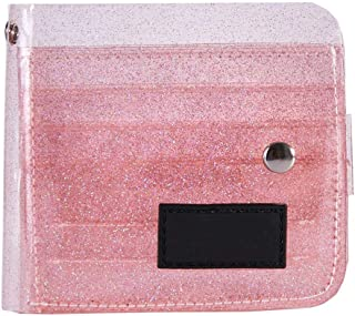 Niome Transparent Wallet PVC Folding ID Card Case Holder Storage Bag Pink