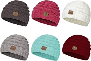 Zando Winter Baby Beanie Hat Cute Soft Warm Knitted Beanies Infant Toddler Cozy Cap for Boys Girls E 6 Pack Mix Color B One Size(6-48 months)
