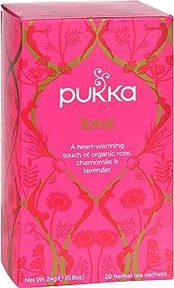 Pukka Herbal Teas–Love Organic Rose Chamomile and lavender Tea–Inglés Caffeine Free–Case Of 6–20Bags