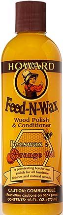 Howard Products FW0016 Feed-N-Wax Wood Polish and Conditioner, Beeswax & &, 16 oz, orange, 16 Fl Oz
