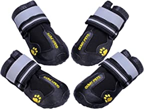 QUMY Dog Boots Waterproof Shoes for Dogs with Reflective Strape Rugged Anti-Slip Sole Black 4PCS