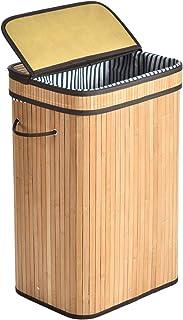 ALINK 80L Panier à Linge en Bambou, XL Grand Panier de Rangement Pliable, Corbeilles à Linge Sale avec Couvercle, Poignée...