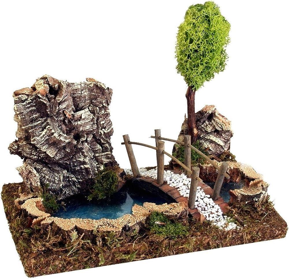 Ferrari & arrighetti piccolo lago con albero e ponte, legno, paesaggio del presepe Bertoni_498B