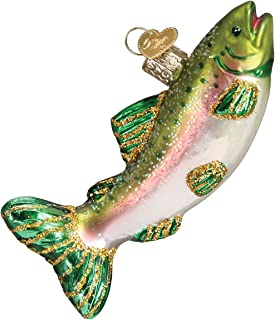 Old World Christmas Fish Collection Glass Blown Ornaments for Christmas Tree Alpine Rainbow Trout