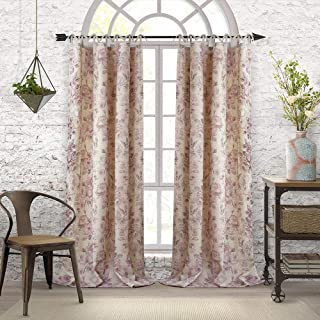 Elrene Home Fashions Annalise Floral Tie Top Room Darkening Linen Single Panel Window Curtain Drape, 52
