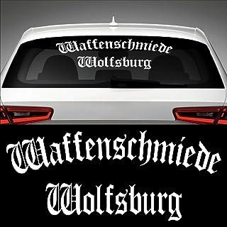 Waffenschmiede Wolfsburg Heckscheibenaufkleber 60,0 cm x 25,2 cm Auto Aufkleber JDM OEM Tuning Sticker Decal 30 Farben zur Auswahl