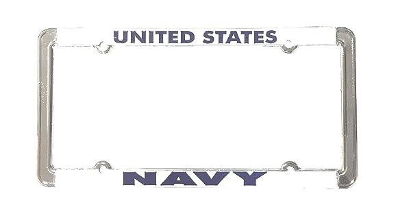 Raised Blue Letters Over White Ramson/'s Imports MF1038NAV License plate frame United States Navy Chrome
