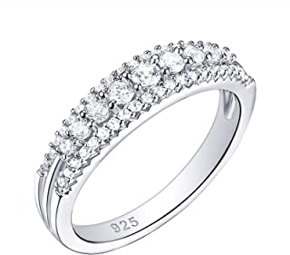 Wuziwen White Round Cz Eternity Rings 925 Sterling Silver Promise Wedding Band for Women Size 5-10