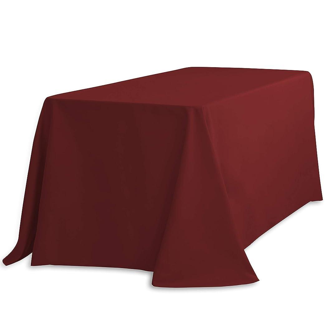 LinenTablecloth 90 x 132-Inch Rectangular Polyester Tablecloth Burgundy