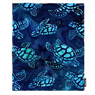Moslion Soft Cozy Throw Blanket Underwater Sea Turtle Blue Sea World Coral Fuzzy Warm Couch/Bed Blanket for Adult/Youth Polyester 30 X 40 Inches(Home/Travel/Camping Applicable)