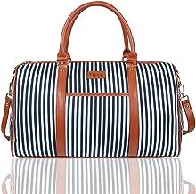 EGOGO Canvas Duffle Bag Luggage Gym Travel Bag Stripe Weekend Totes Handbags Cross Body Shoulder with Adjustable Strap E532-1