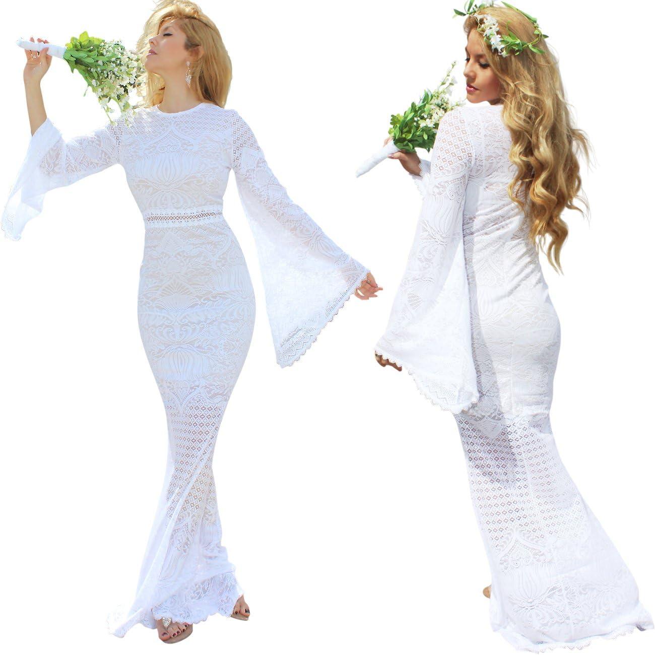 Boho Gypsy Wedding Dress Vintage Angel Bell Sleeve Goddess Bridal Dress Usa Made Casual Beach Wedding Dress At Amazon Women S Clothing Store