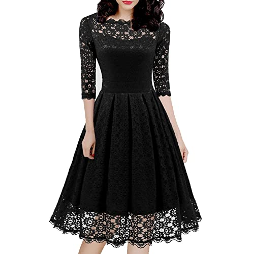 8159ecf6d9f Women s 1950s Vintage Floral Lace Half Sleeve Cocktail Party Casual Swing  Dress 595