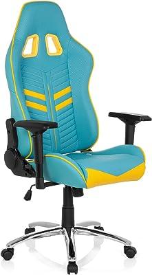 hjh OFFICE 729230 Silla Gaming League Pro Piel sintética Azul/Amarillo Silla Escritorio