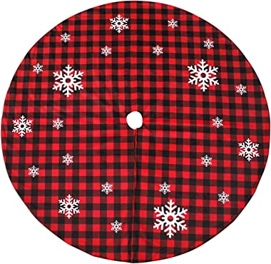 Christmas Tree Skirt Red and Black Buffalo Check Plaid Tree Skirt with Snowflake Design, 48inch Double Layers Xmas Tree Skirt