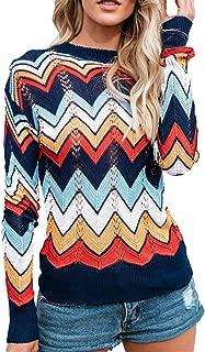 Women's O Neck Long Sleeve Striped Knitwear Lightweight Winter Knitted Rainbow Pullover Sweater