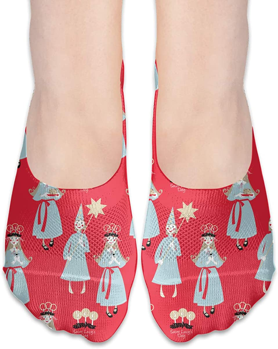 No Show Socks Saint Lucy's Day Cotton Thin Non Slip Low Cut Invisible Sock