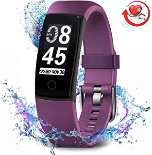 Fitness Tracker Waterproof Activity Tracker with Heart Rate Blood Pressure Monitor, Color Screen Smart Bracelet with Sleep Tracking Calorie Counter, Pedometer Watch for Kids Women Men
