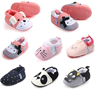 Infant Baby Boys Girls House Shoes Walking Slippers Cute Cartoon Moccasins Warm Cotton Stay On Booties Newborn Toddler First Walkers Shoe